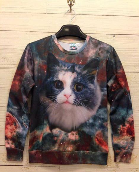 galaxy cats cat sweater