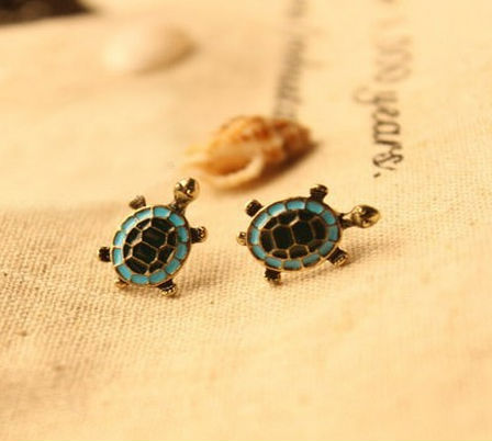 Hot! New Lucky Little Turtle stud Earrings-in Stud Earrings from Jewelry on Aliexpress.com