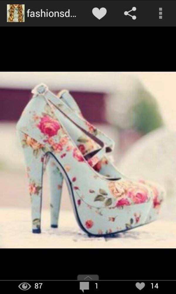 shoes high heels light blue floral