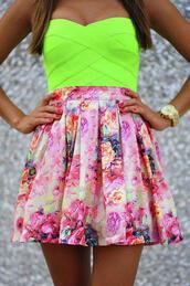 shirt,neon,yellow,top,skirt,dress,floral,lime,green,pink