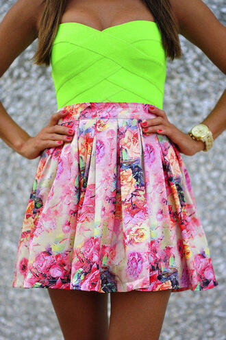 shirt neon yellow top skirt dress floral lime green pink