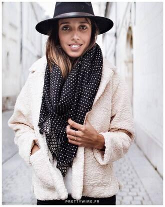 jacket white jacket scarf black scarf hat black hat