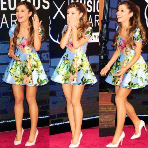 dress ariana grande floral floral dress beautiful cute hot prom heels pumps cute dress high heels blue dress