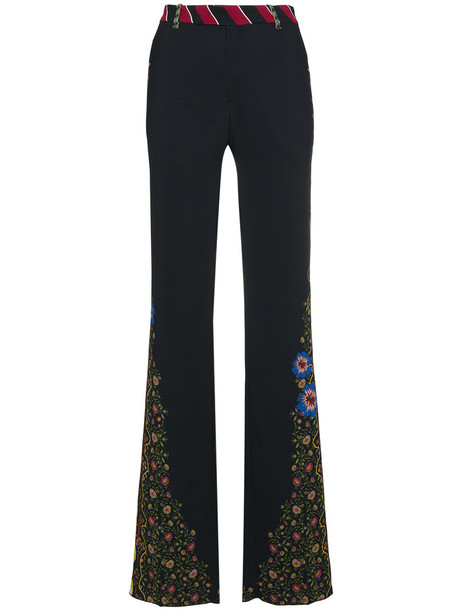 embroidered high women spandex black pants