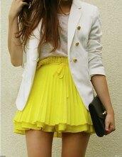 skirt,miniskirt,yellow,pleats,pleated skirt,yellow skirt,pretty,high waisted,high waisted skirt,layered skirt,white