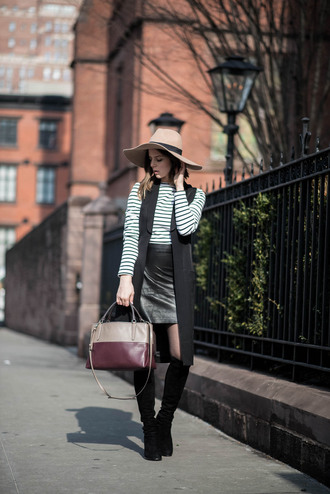 take aim blogger leather bag vest striped top felt hat leather skirt knee high boots jacket skirt shoes hat shirt bag