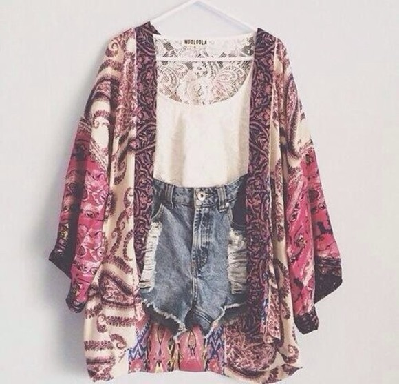 jacket white top shorts denim tank top lace top floral kimono summer summer outfits
