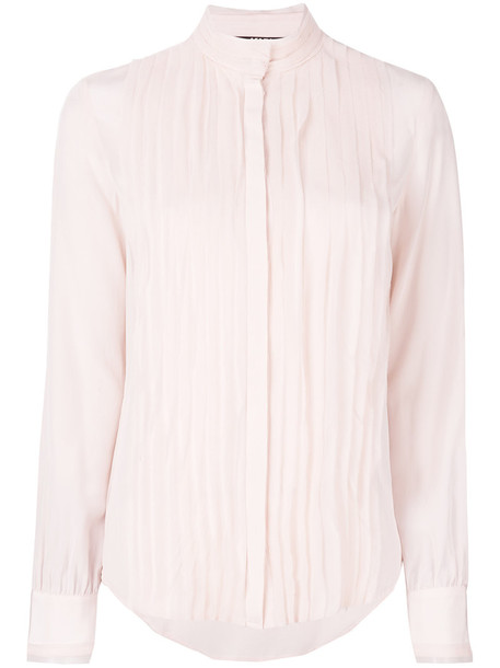 shirt pleated women silk purple pink top