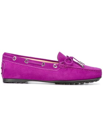 women classic loafers leather purple pink shoes