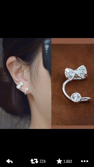 silver jewels silver jewelry bows cute girly earrings peircings two pieces set double kawaii ulzzang fashion ear cuff rhinestones