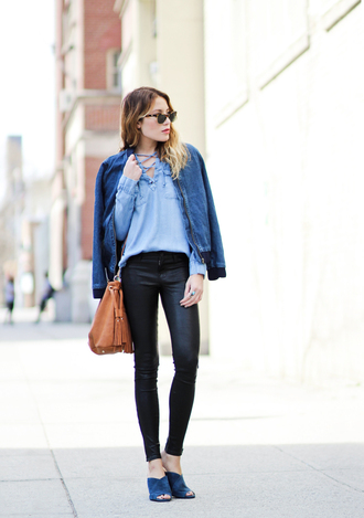 the marcy stop blogger jacket pants bag sunglasses