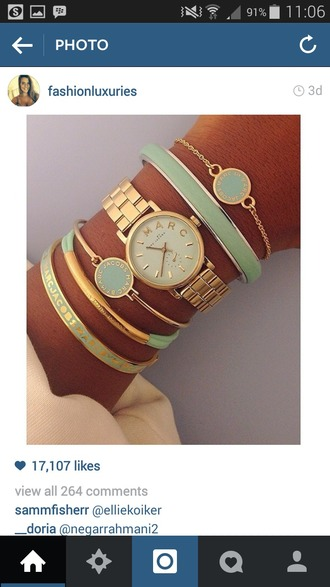 jewels green bracelet gold watch bangles white gold tanned skin
