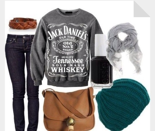 shirt jackdaniel long sleeves grey white letters tennessee whiskey hat bag scarf belt