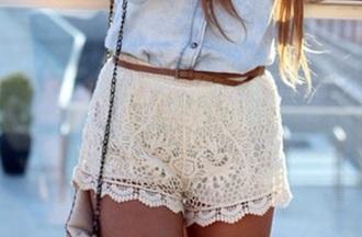 shorts lace shorts cream girly summery