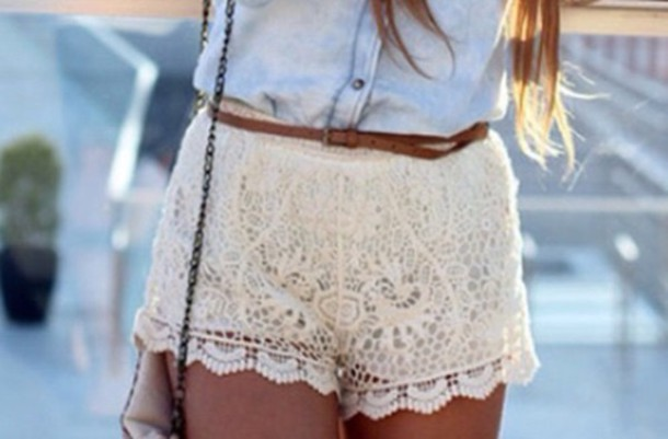 shorts lace shorts cream girly summer