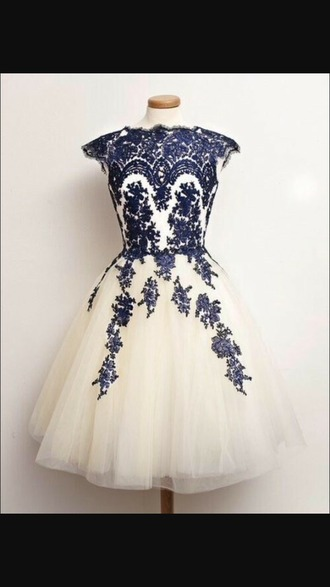 dress blue and white dress blue flower cosplay dress 50s style prom dress