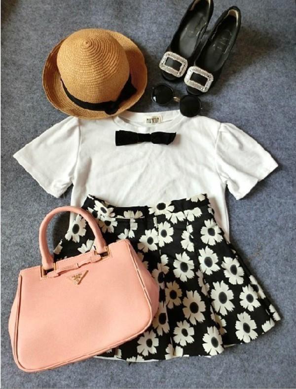 skirt shirt black skirt floral print skirt floral blouse straw hat sunglasses bag shoes flats black and white