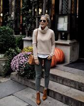 bag,shoulder bag,round bag,ripped jeans,skinny jeans,grey jeans,ankle boots,suede,suede boots,sweater,white shirt,aviator sunglasses