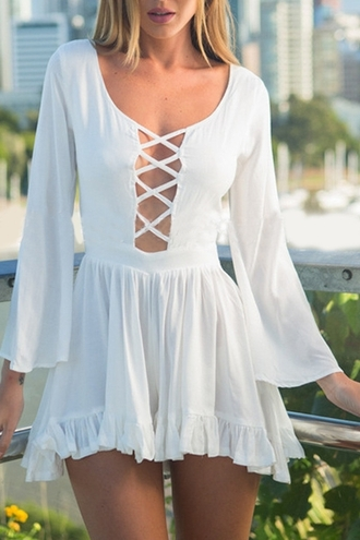 dress white summer fashion criss cross long sleeves spring girly hot beautifulhalo