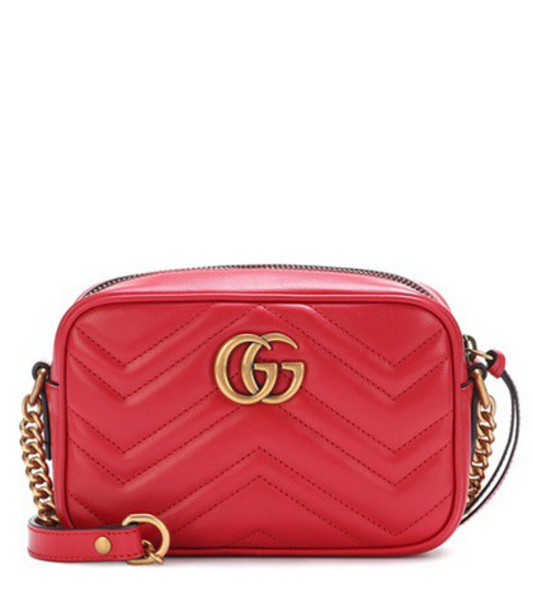 Gucci GG Marmont Mini matelassé leather crossbody bag in red