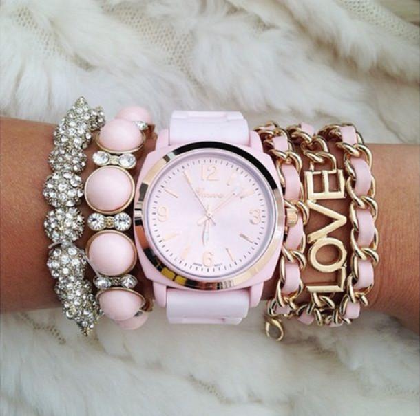 jewels watch jewelry pink gold silver black bracelets