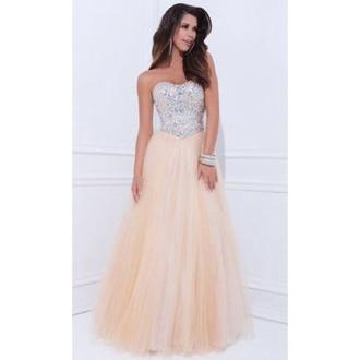 dress peach dress prom dress prom gown sparkly dress sparkles long prom dress long dress no sleeves sweetheart dresses pretty
