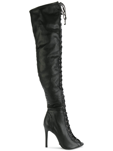 high women leather black shoes