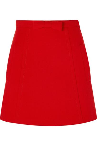 Miu Miu skirt mini skirt bow mini embellished wool red