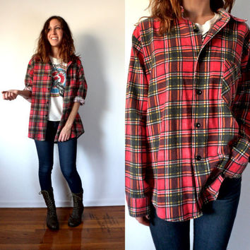 Vintage Grunge Red Flannel Button Down Shirt Oversized on Wanelo