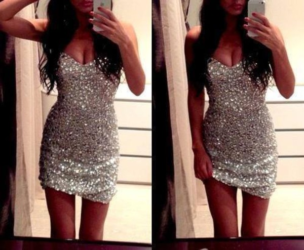 dress brillant sexy dress silver