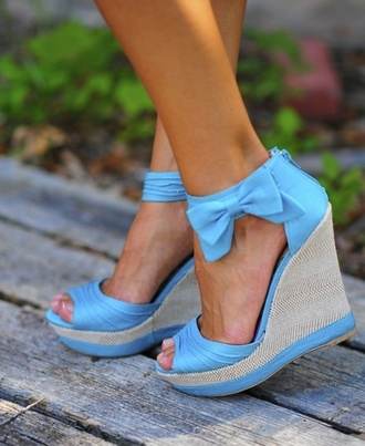 shoes wedges bow summer cute blue blue shoes girly