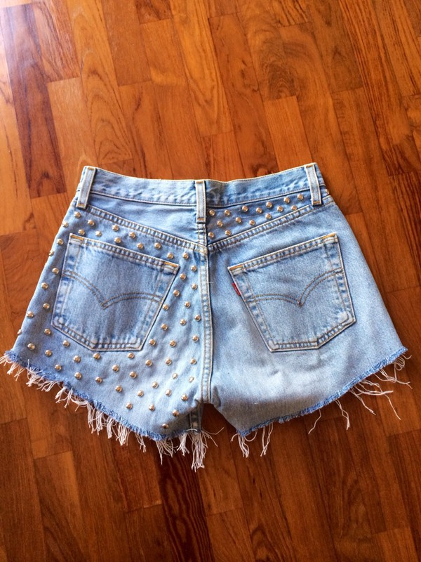 denim shorts denim shorts vintage High waisted shorts vita alta jeans studs