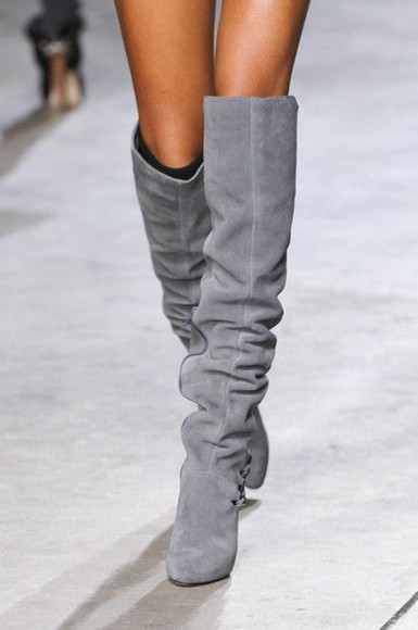 grey boots over knee high boots