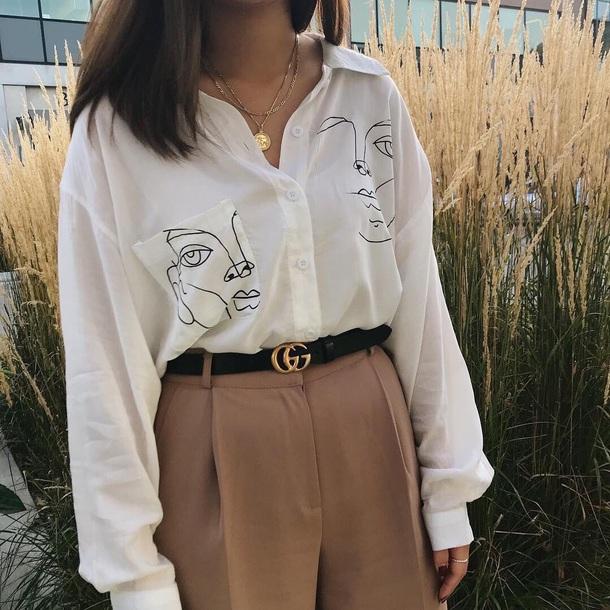blouse white shirt white blouse black and white collar loose tees face vintage black detail long sleeves white blouse faces
