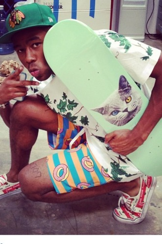 shorts donut odd future statement vans food clothing shoes skateboard cats kooky menswear