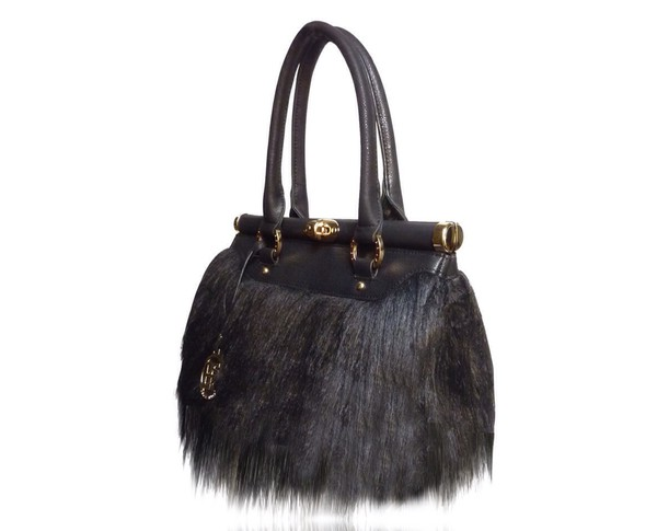 bag black fur adjustable long strap .
