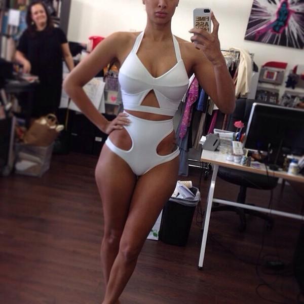 swimwear white high waisted halter neck bikini
