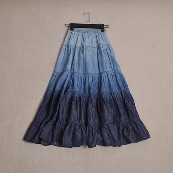 What's hot women's high quality vintage fashion all match denim gradient color bust skirt long skirt