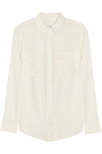 shirt silk white off-white top