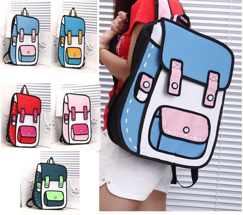 Fashion 2D Style Drawing Cartoon Paper Bag School Travel Leisurely Backpack Bag | eBay