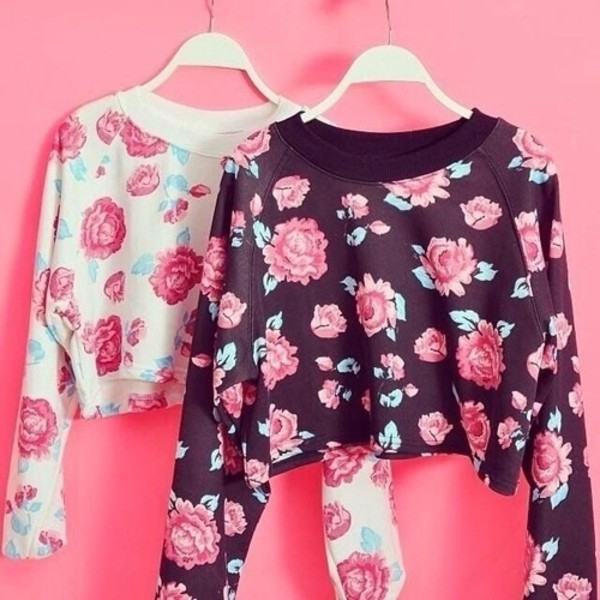 sweater floral pink blue flowers black pink flowers cute sweaters white blouse shirt crop tops