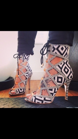 shoes caged caged heels black and white tribal pattern tribal print cut out draw string