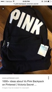 bag,black and white,victoria's secret,backpack,pink by victorias secret