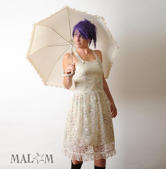 Robe courte de mariée  robe originale en coton recyclé par malam