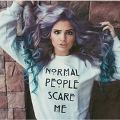 sweater,normal people scare me,american horror story sweater,white sweater,black writing,shirt,jacket,american horror story,tv/movies,top,normal people scare me  sweatshirt,crewneck,accent,symbol,baby blue,pastel,normal people,scare,funny,quote on it,funny hat,hoodie,cool,american horror story hoodie