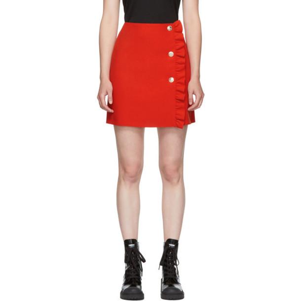 MSGM Red Buttoned Miniskirt