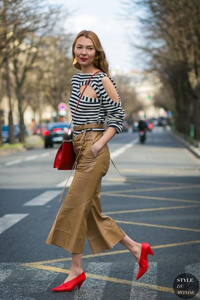 e142d2af801897 pants brown pants tumblr leather pants cropped pants wide-leg pants leather  culottes culottes glove