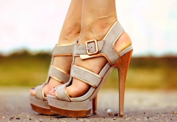 shoes grey shoes high heels gold blogger platform sandals