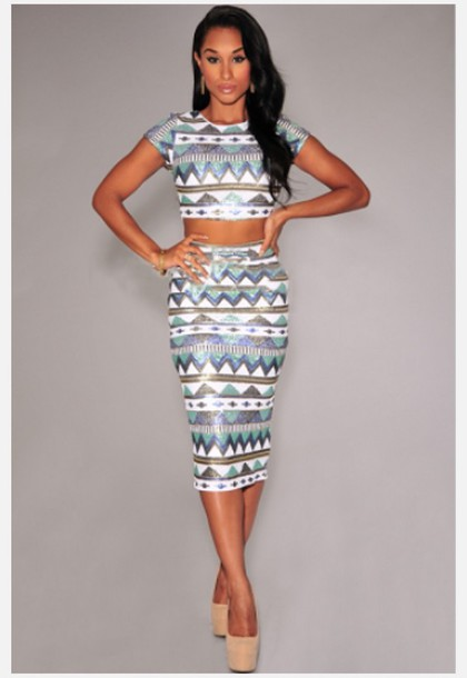 dress cream multi-colored aztec print t two piece