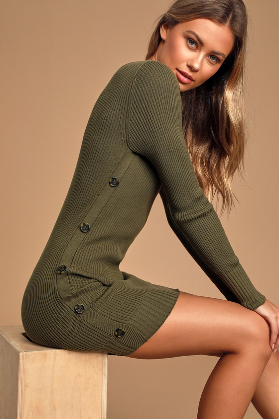 Snowed In Olive Green Side-Button Sweater Dress